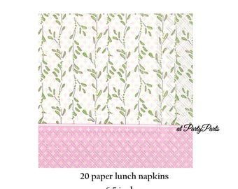 Pink and green baby shower napkins, pink baby carriage series, vines, gender reveal party, its a girl, baby girls, babys first birthday