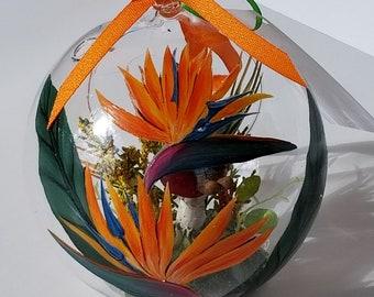 Hand Painted Glass Terrarium Ornament Birds of Paradise