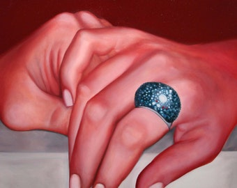 Our Hands - figurative modern handmade square painting oil on canvas cm 50 x 50 (19,685 x 19,685 in)