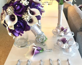 Customize Your Package, Purple Calla Lily Bouquet, Purple Bouquet, Real Touch Roses, Calla Lily Bouquet, Brooch Bouquet, Bling Bouquet, Plum