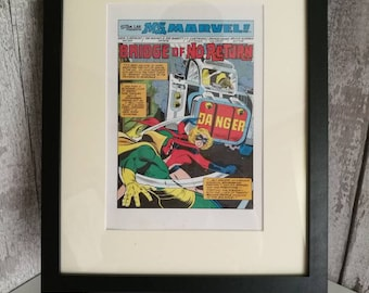 Vintage Ms Marvel Wallart Framed Page from the actual 1980's Annual - Unique Gift -Superhero fan - Ms Marvel fan