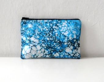 Hand marmoriert blau Täschchen - Galactic Blue - Modell 6, Kosmetiktasche / Reisetasche / Schmink Tasche