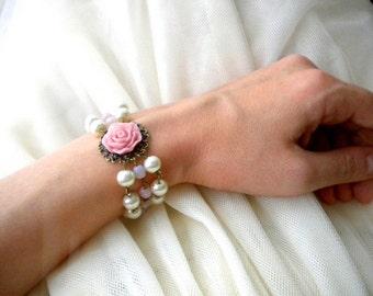 Pink Bracelet Blush Pink Bridesmaid Bracelet Multi Strand Pearl Bracelet Wedding Statement Bracelet Gift For Sister Bridal Pearl Bracelet