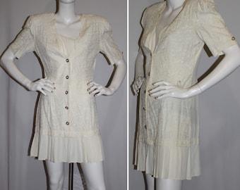 Vintage VA Victoria Ashley Beige Mini Dress Short Sleeves Size 7