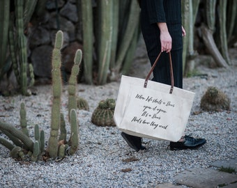 When Life Shuts a Door Open It Again That's How Doors Work | Natural Linen Tote Bag | Made In Eu | 100% Hand made