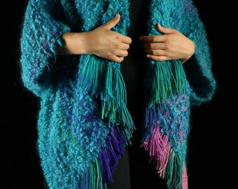 Vintage 1970's Handwoven  Poncho *wool, wrap, shawl, 1980s, 70's, 80's, southwest, gift for her, woven, teal*