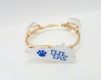 University of Kentucky Wire Wrapped Bangle, Wire Bangle, Bracelet, Bourbon and Boweties Inspired
