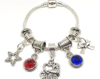 PERSONALIZED Cheerleading Bracelet CHILD, Rope Bracelet, All Star Cheerleading, Cheerleader Gift, Cheerleading Coach, Cheerleading Charm