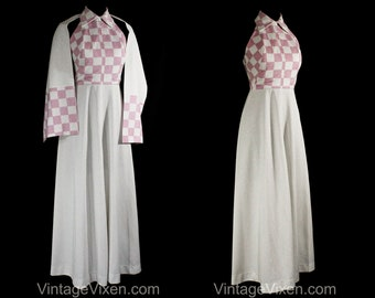Size 6 Pink & Silver Maxi Dress - Late 1960s Early 1970s Evening Gown with Matching Wrap - Checkered Metallic Knit - Bust 34 - 50801