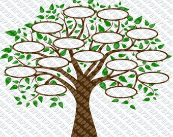 Family Tree 15 SVG, DXF Digital cut file for cricut or Silhouette svg, dxf - 15 Circles for Family Members