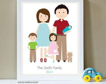 Custom Portrait, Family Portrait, Family of Five and Pet
