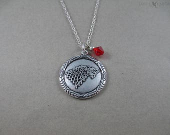 Game of Thrones Stark Direwolf Sigil Necklace - Double Sided - Winter is Coming - Silver Charm