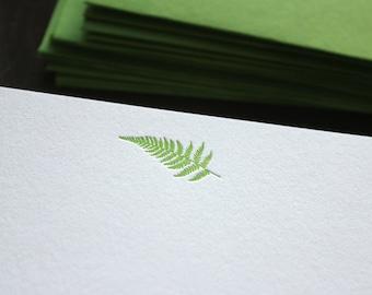 Flat Card Set with Letterpress Fern
