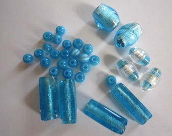 lot 30 shades of turquoise glass beads