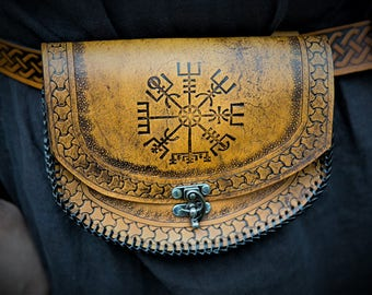 Viking Leather Belt Pouch Vegvisir - Icelandic Stave - Festival / Bushcraft Possibilities Bag