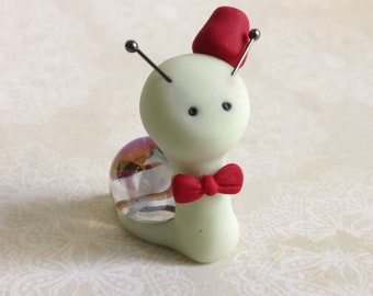 Polymer Clay Marble Snail / Fairy Garden Miniature / Doctor Who 11th  / Figure / Gift / Eleventh  / Handmade / Unique / Figurine / OOAK / Dr