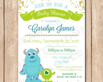 Monsters inc baby shower invitations Etsy