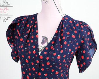 Vintage Apple Print Secretary Short Sleeved Blouse Size S/M