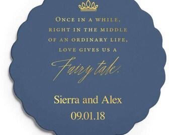 Set of 100 Scalloped Wedding Coasters - Love gives us a Fairytale - Custom Coasters - Weddings - Wedding - Wedding Reception