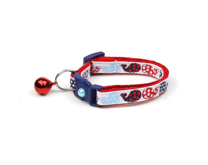 Whale Cat Collar - Red and Navy Polka Dot Whales - Small Cat / Kitten Size or Large Size