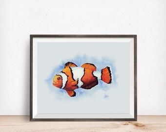 Watercolour Clownfish A5 Fine Art Print Nemo Ocean Marine Wall Art Home Decor Deep Blue Seaside Coastal Nature Fishing Gift Bathroom