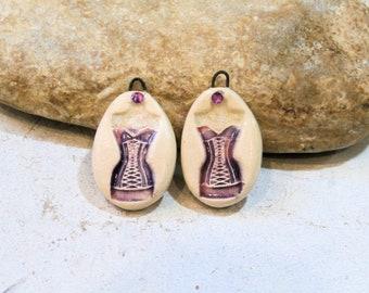 2 charms for earrings - retro shabby chic corset underwear art doll - ceramic earthy romantic supply, purple