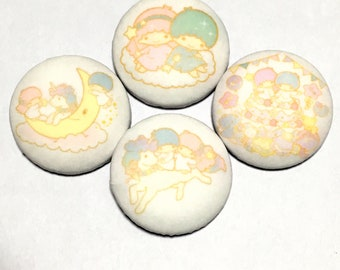 """covered button set  """"sanrio Little Twin Stars kikilala-ish"""" (1) kawaii button"""