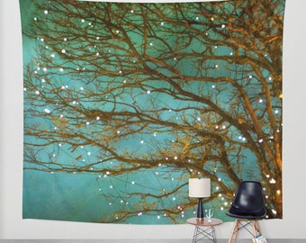 wall tapestry, oversized wall art, forest tapestry, tree tapestry wall tapestry, nature tapestry, green tapestry, forest teal