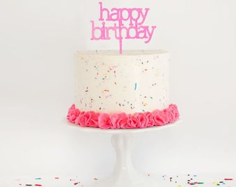 Happy Birthday Wooden Cake Topper (Choose your colour)