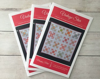 Vintage Star - printed quilt pattern - a layer cake friendly pattern - baby and lap sizes