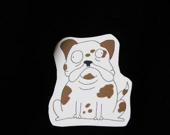Brown and white Bulldog - sticker