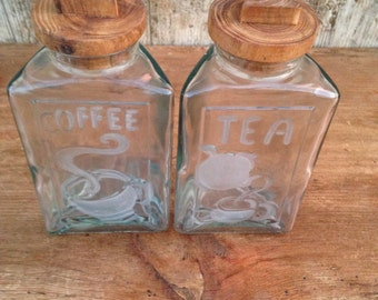Vintage green glass tea and coffee storage jars