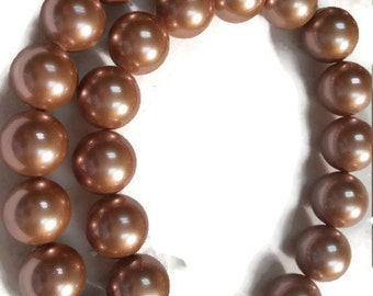 12mm Peach Shell Pearl Round beads, Pearl Necklace in peach color