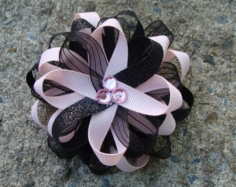 Light Pink and Black Loopy Flower Hair Bow