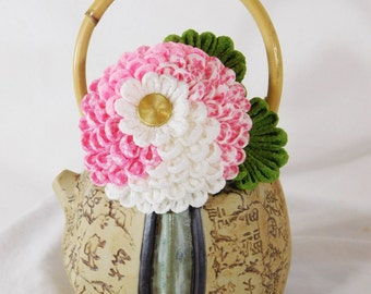 Pink Print with Pink and White Kiku Chrysanthemum Tsumami Kanzashi Large Hair Fork