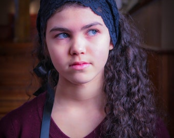 Black Lace Headband, Chapel Veil with Ties, Headband Veil, Catholic Head Scarf, Hair Wrap Headcovering, Catholic Kerchief, Lace Headwrap