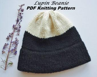 Lupin Beanie Pattern, Knitting Pattern, Double-Brim Beanie Pattern, Color Block, Tutorial, Knitting PDF Pattern, Knit Beanie Pattern, How-To