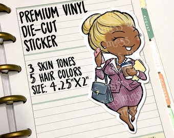 Business Woman Girl Boss Working Mom Die-Cut Vinyl Sticker Decal for Travelers Notebooks Planners