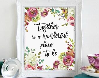 Wall Art, Watercolor Art, Printable Art, Gift for Her, Printable, Wedding Shower Gift Ideas, Home Decor, Wall Decor, Romantic Wall Art