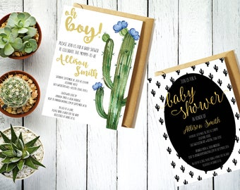 Baby Shower Invitation / Party Invitation / Baby Invitation / Cactus / Baby / Pregnant / Mother-to-be / Invitations / Celebrate / Watercolor