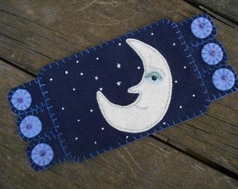 Man in  the Moon, Moon Man, Moon and stars, Embroidery Art,  Mug Rug, Coffee Coaster, wool felt coaster