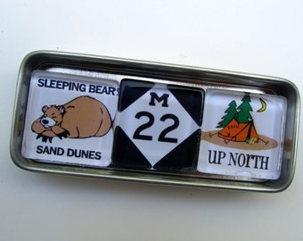 SLEEPING BEAR Dunes M-22 Michigan - Up North Michigan Magnets Set, Northwest Michigan Souvenir