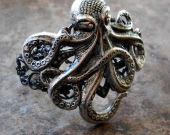 Steampunk Antiqued Silver Octopus Cuff Bracelet Exclusive Design