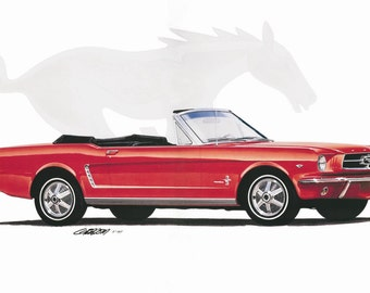 1964 Mustang Convertible 18x24 inch Art Print by Jim Gerdom