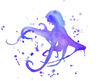 Octopus Watercolor-Purple and Blue Abstract Print