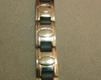 Father's Day, Men's Bracelet, Stainless Steel, and Black Bracelet. Biker Bracelet, Rocker Bracelet, Cool Men's Bracelet