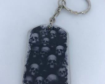 Skull Horror Handmade Dog Tag Keychain
