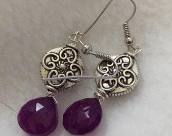 Purple Jade Dangle Earrings