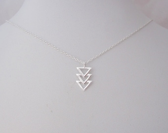 Triangles sterling silver necklace with chain, geometric jewelry