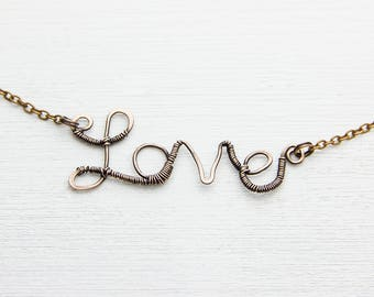 Love-necklace Love Pendant Wire Wrapped Necklace valentine's day gift Anniversary Name necklace Personalized Gift for Her Copper necklace